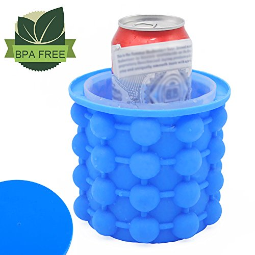 Ice Cube Maker Genie  Heiyi Silicone Ice Cube Trays  Ice Bucket  Revolutionary Space Saving Ice Genies Ice Ball Maker For Chilling Burbon Whiskey  Cocktail  Beverages And More