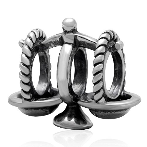 Ollia Jewelry Antique 925 Sterling Silver Charm Try to Keep a Balance Scale Symbol of Libra European Beads and Charms