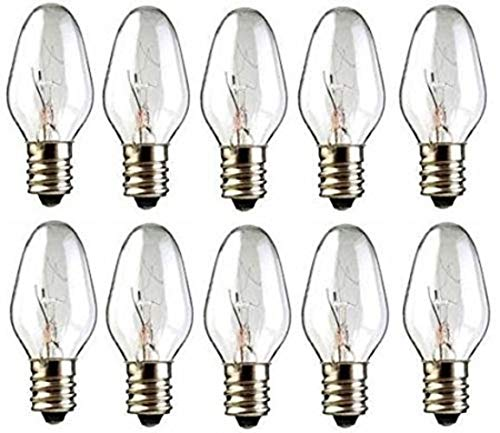 15 Watts C7 Replacement Light Bulbs for Scentsy Plug-In Warmers and Wax Diffusers, 15W 130 Volt Candelabra E12 Base Long Lasting 1,500 Hours Pack of 10