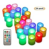 Realistic Flickering Flameless Votive Candles,Color Changing Night Light Timer and Remote Control Candles Set of 24