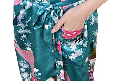 Waymoda - Bata de satén para mujer, diseño pavo real y flores, estilo Kimono largo verde oscuro
