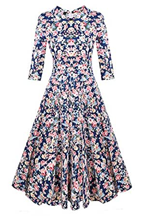 ACEVOG 50s Hepburn Style Vintage Long Sleeve Floral Party Cocktail Evening Dress, Small, 3/4 Sleeve Floral Blue