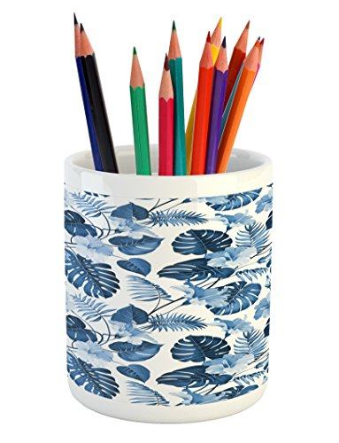 Lunarable Leaf Pencil Pen Holder, Palm and Mango Tree Branch and Hawaiian Hibiscus Flower Image, Printed Ceramic Pencil Pen Holder for Desk Office Accessory, Pale Blue Turquoise and Dark Blue ()