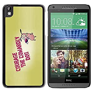 Qstar Arte & diseño plástico duro Fundas Cover Cubre Hard Case Cover para HTC DESIRE 816 ( Courage Dog Bravery Cartoon Quote Motivation)
