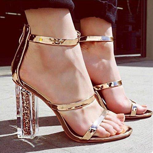 SFSYDDY Con Cintura Brutto Dodici Alti Di Spessore Scarpe Sandali Crystal Summer Golden Mascalzone Zip Tacchi Centimetri rzXrSUTq