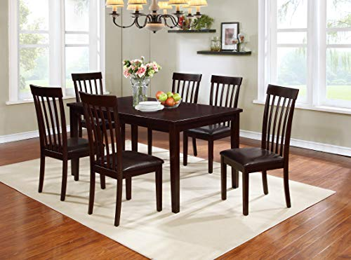 Mollai Collection 7 Pc Dining Table and 6 Chairs Set - Cherry Brown - Houston tx (Chairs Dining Houston)