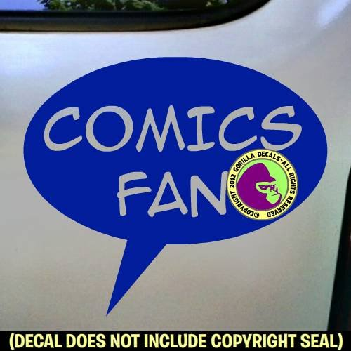 COMICS FAN Zine Club Comic Book Vinyl Decal Bumper Sticker Car Laptop Wall Sign BLUE