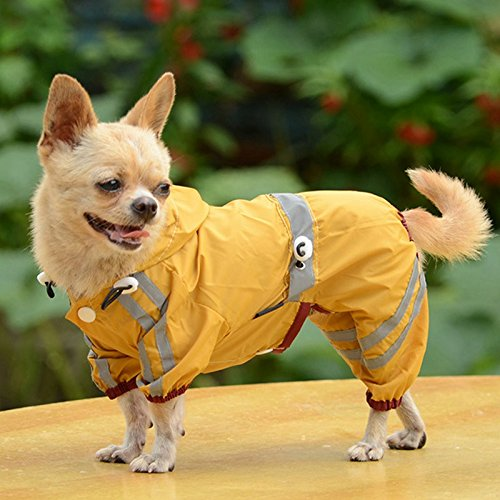 [Pet Dog Puppy Glisten Bar Hoody Waterproof Raincoat Jacket Clothes (L, Yellow)] (Dachshund Tootsie Roll Costume)