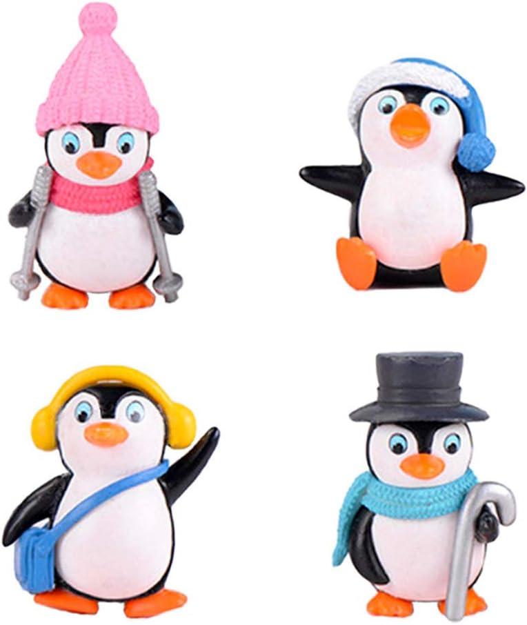 4 Pcs Cute Penguin Figures, Mini Penguin Figurines Collection Playset, Penguin Cake Topper Fairy Garden Party Decoration