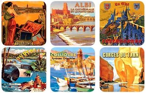 Compra Recuerdos de Francia - 6 x Toulouse y posavasos de corcho Languedoc en Amazon.es