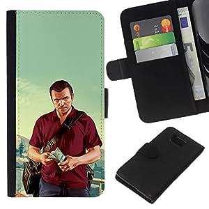 NEECELL GIFT forCITY // Billetera de cuero Caso Cubierta de protección Carcasa / Leather Wallet Case for Samsung ALPHA G850 // G T A Michael Poster
