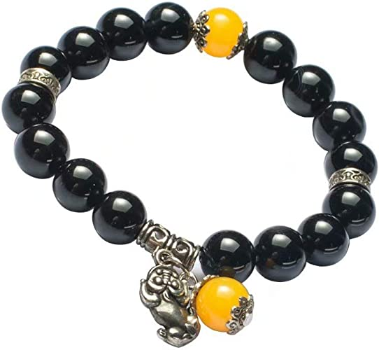 MANRUO Feng Shui The Best 10mm Natural Tigers Eye Beads Bracelet with Silver Plated Pi Xiu//Pi Yao Pendant Amulet Bangle Attract Lucky Wealthy