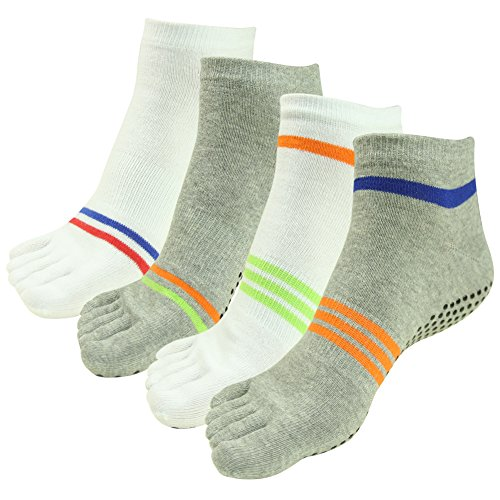 Stripes Barre Pairs Women for J'colour Yoga amp;Men Sports Gripes 2 Pilates Slip Socks 4 Ankle Non White Different Socks Athletic 005 amp;grey wqAfqxa1X