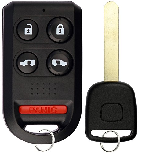 Honda Odyssey Uncut Key - KeylessOption Keyless Entry Car Remote Fob With Uncut Ignition Transponder Key Replacement For OUCG8D-399H-A