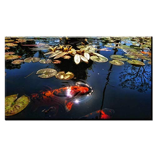 dayanzai Coudros Home Decoration Printed On Canvas Wall Art Chinese Calligraphy Koi Fish Bamboo Picture for Living Room 50X100Cm No Frame Chinese Calligraphy Picture Frame