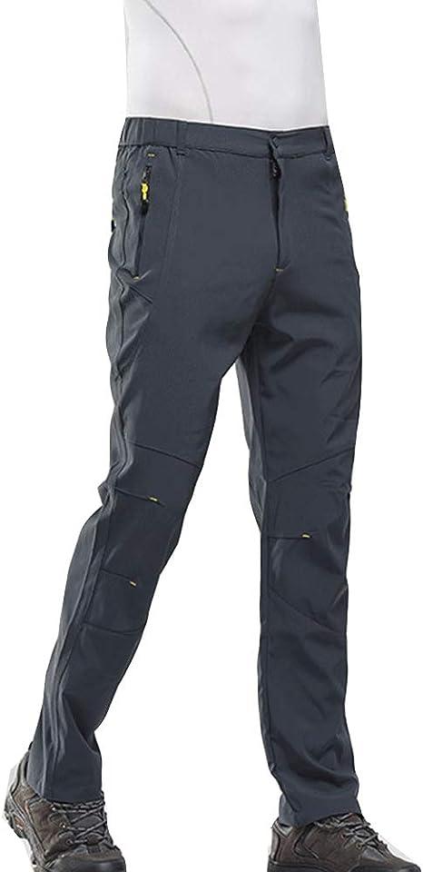LaoZanA Hombres Pantalones de Trekking de Softshell Impermeables Transpirable de Escalada