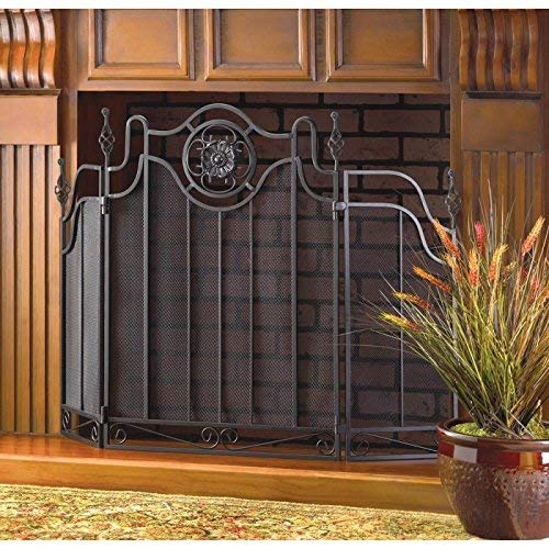 Fireplace Tuscan Design FIRE Place Screen Screens Black Iron Metal - Screen Design Fireplace Tuscan