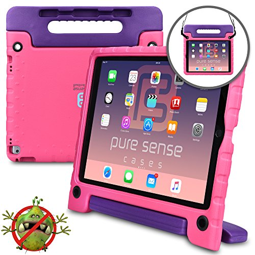 Samsung Galaxy Tab A 10.1 case for kids- [WORLD'S FIRST ANTI MICROBIAL KIDS CASE] PURE SENSE BUDDY Child Proof Shock Protective Cover for Girls | Shoulder Strap, Handle, Stand, Screen Protector (Pink) (Survivor Case For Samsung Tab 3)