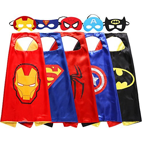 [Zaleny Kids Superhero Dress Up Costumes 5 Satin Capes with 5 Felt Masks] (Hero Costumes For Men)