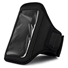 Black VG Neoprene Hardcore Workout Armband with 2 Piece Adjustable Velcro Strap for Sony Xperia J / Sony Xperia T / Sony Xperia V / Sony Xperia SL / Sony Xperia acro S / Sony Xperia GX / Sony Xperia neo L / Sony Xperia P/ Sony Xperia ion / Sony Xperia S / Sony Xperia TL Android Smartphones