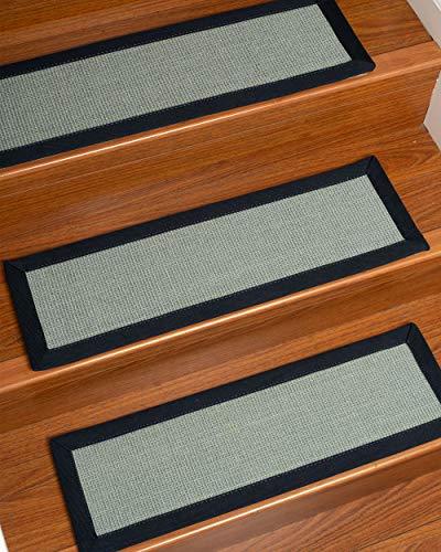 NaturalAreaRugs 100% Natural Fiber Barton, Handmade Custom Stair Treads Carpet Set of 13 (9