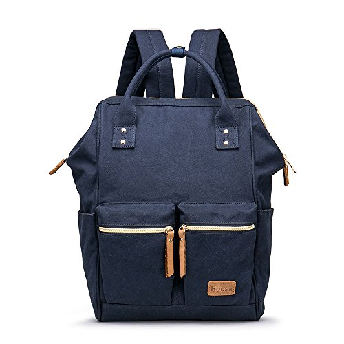 Multifunction Canvas Backpack Travel Bags for Man Woman Casual Laptop Rucksack (Dual Pockets x Blue EB) by Ebesa (Image #6)