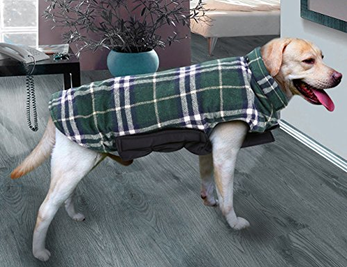 Picture of MIGOHI Dog Jackets for Winter Windproof Waterproof Reversible Dog Coat for Cold Weather British Style Plaid Warm Dog Vest for Small Medium Large Dogs Green S