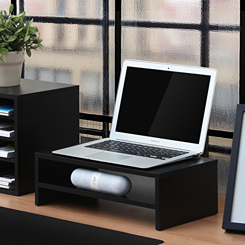 FITUEYES Computer Monitor Stand TV Shelf Risers 16.7 inch 2 Tiers Monitor Stand Save Space Black by FITUEYES (Image #1)