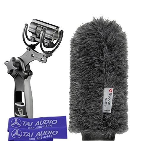 Rycote Pistol Grip - Rycote 18cm Classic-Softie (19/22) & Rycote Lyre Pistol Grip Shock Mount for Rode NTG-3 Shotgun Mic with (2) TAI Audio Cable Straps