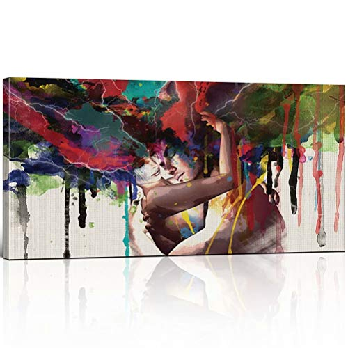 (TONZOM Canvas Wall Art Lovers Embrace Colorful Love Painting HD Prints on Canvas Decoration for Bedroom )