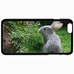 Customized Cellphone Case Back Cover For iPhone 6 Plus, Protective Hardshell Case Personalized Beasts Grey Rabbit 24476 Black