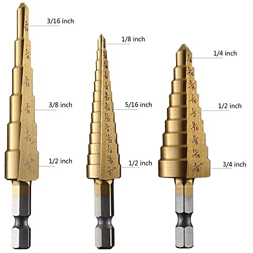 RUIMI Titanium Step Drill Bit Spiral Metric Sizes 3Pcs (Step Bits 3/16