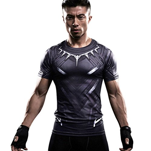 HOCOOL Men's Cool Compression Fithness Tee,Super Heros Black Panther Sport Runing Shirt Top