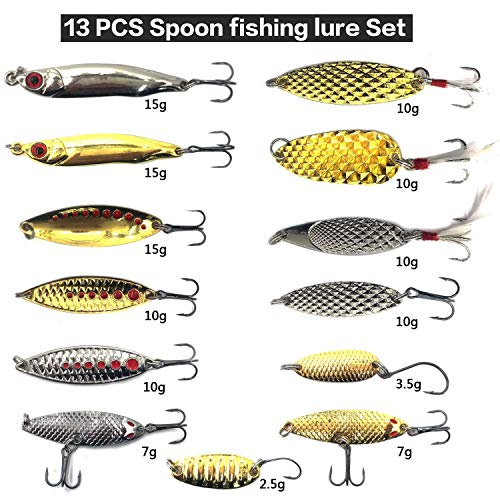 (Hard Fishing Lure Set 43pcs Assorted Bass Soft Fishing Lure Kit Colorful Minnow Popper Crank Rattlin VIB Jointed Fishing Lure Set Hard Crankbait Tackle Pack For Saltwater or Freshwater (Spoon-30) )
