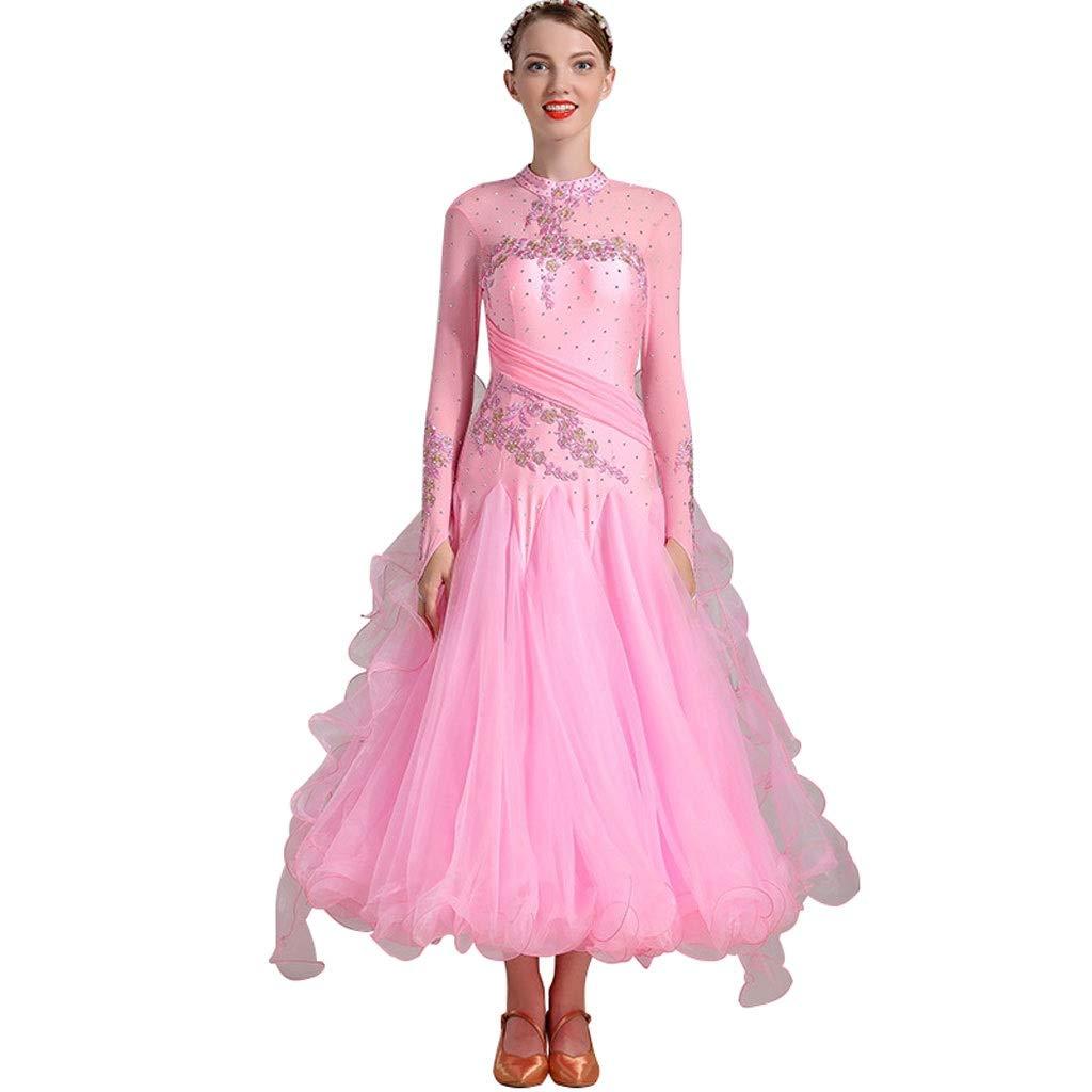 Pink L LRR Ballroom Dance Dresses Smooth Modern Waltz Tango Competition Dress,Long Sleeve Embroidery Performance Modern Costume