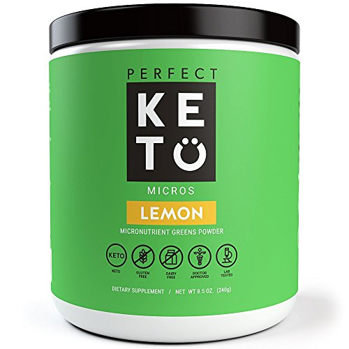 Perfect Keto Greens Superfood Powder- Super Micro Green Drink & MCT Oil to Burn Fat for Fuel- Best as Low Carb Ketogenic Diet Supplement for Ketosis- Amazing for Ketones and Athletic Diets | (Lemon)
