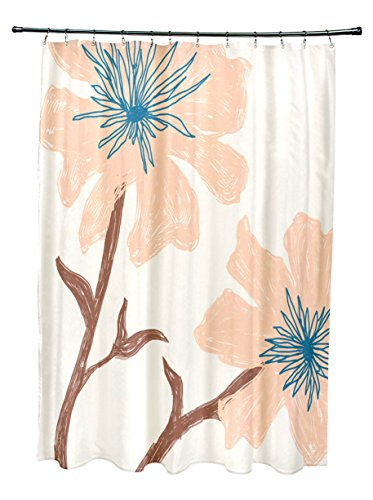 Ebydesign SO-NR15-Bisque_Peach Floral Shower Curtain, Mul...