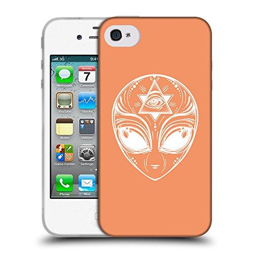 GoGoMobile Coque de Protection TPU Silicone Case pour // Q09010607 extraterrestre 2 Mandarine // Apple iPhone 4 4S 4G