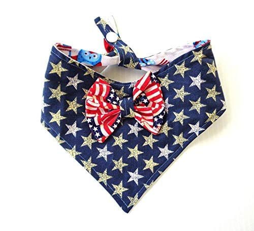 Tie On Snap Closure 2 in 1 Dog Cat Bandana Bow Stars Stripes Patriotic July 4th Red White Blue Petwear ()