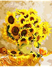 Paint by Numbers-DIY Digital Canvas Oil Painting Adults Kids Paint by Number Kits Home Decorations- Yellow Sunflower 16 * 20 inch