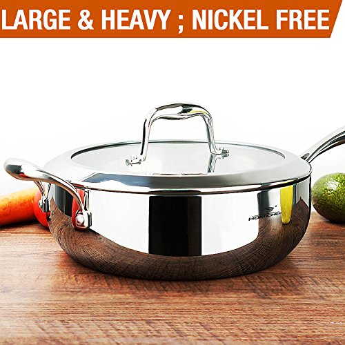 HOMI CHEF Mirror Polished NICKEL FREE Stainless Steel 5 Quart/11 Inch Saute Pan with Glass Lid (No Toxic Non Stick Coating, Whole-Clad 3-Ply) - Stainless Steel Saute Pan 10132