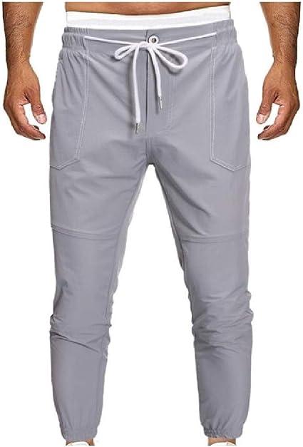 Nicellyer Men's Elastic Waist Close-bottom Pockets Pure Color Fit Trousers