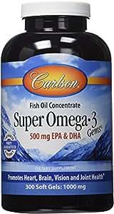 Carlson Labs Super Omega-3 Gems, 1000mg,  300 Softgels