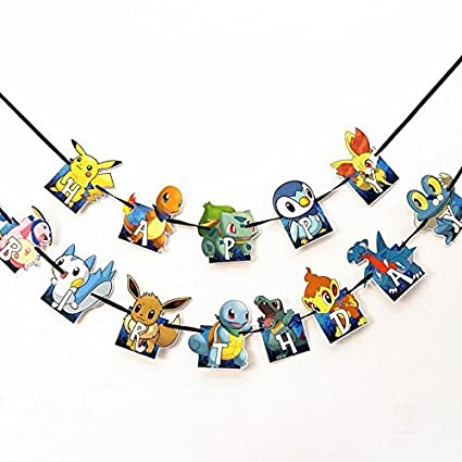 Amazon.com: Feliz Cumpleaños Banner, Pokemon estilo ...