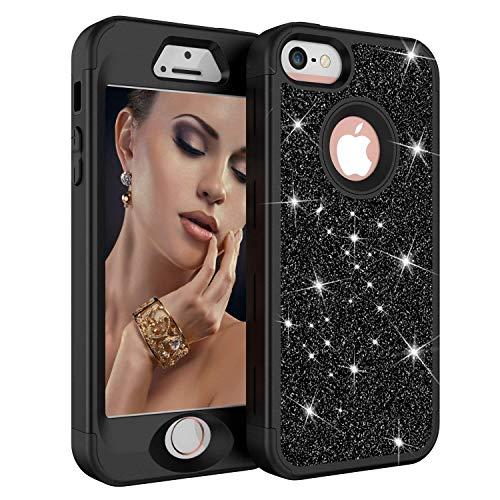 iPhone 5 Case, iPhone 5S Case, iPhone SE Case, Three Layers Heavy Duty Resistant Luxury Glitter Sparkle Bling Shockproof Fashion Hard Case for Apple iPhone 5/5s/SE (Black)