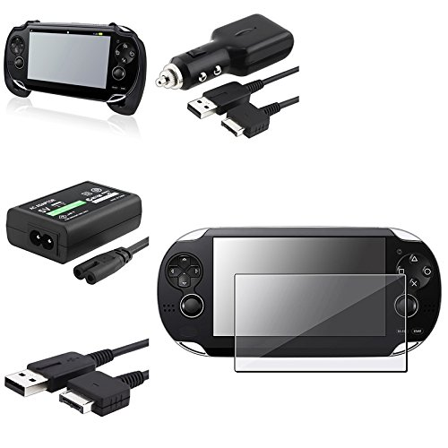 eForCity® Black Hand Grip + Clear Film + AC Adapter + Car Charger + USB Cable Compatible With Sony PS Vita PSV