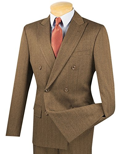 Herringbone Striped Double Breasted 6 Button Slim-Fit Flannel Suit Taupe | Size: 38 Short / 32 Waist ()