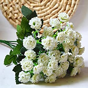 6 Branches 30 Flower Heads Small Lilac Silk Artificial Flowers Gifts-White 3