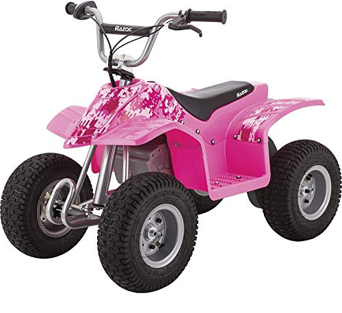"""Razor Dirt Quad - 24V Electric 4-Wheeler ATV - Twist-Grip Variable-Speed Acceleration Control, Hand-Operated Disc Brake, 12"""" Knobby Air-Filled Tires"""