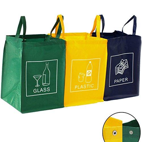3er Set Recycling Müll Sortiertaschen Mülltrennsystem Abfalltrennsystem Abfallsammler Mülleimer Mülltrenner Mülltonne Tasche
